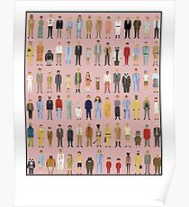 Wes Anderson Cartoon Characters Poster