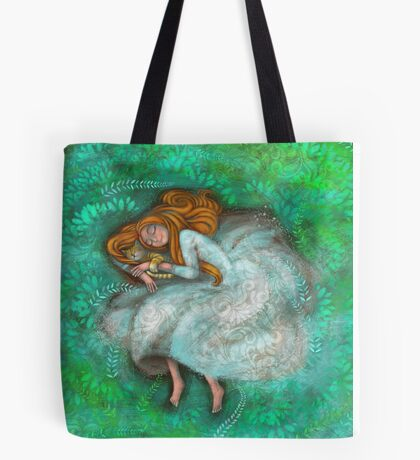 Sleeping with cat Tote Bag