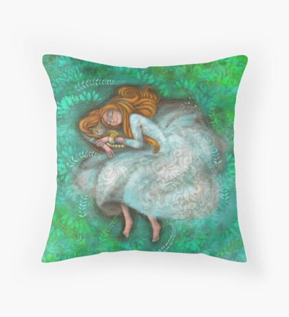 Sleeping with cat Throw Pillow