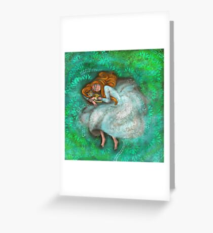 Sleeping with cat Greeting Card