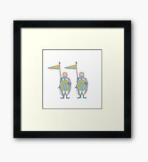 Knights in armour with shield and sword. Framed Print