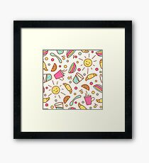 Cozy pattern with breakfast items Framed Print