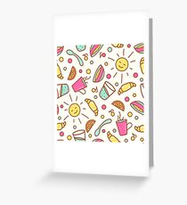 Cozy pattern with breakfast items Greeting Card