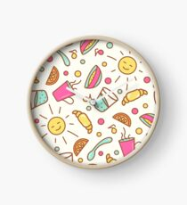 Cozy pattern with breakfast items Clock