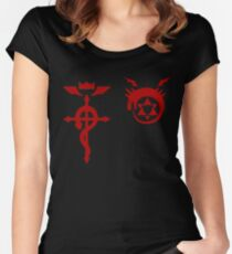 Fullmetal Alchemist Ouroboros + Flamel Red Women's Fitted Scoop T-Shirt