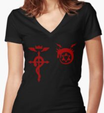 Fullmetal Alchemist Ouroboros + Flamel Red Women's Fitted V-Neck T-Shirt