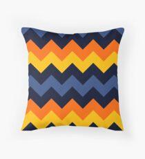 Zigzag Pattern Black, Orange, Yellow & Blue Throw Pillow