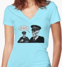 Skeleton Police (Green) Women's Fitted V-Neck T-Shirt