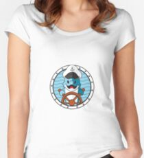 little cartoon Dolphin using hat Captain Women's Fitted Scoop T-Shirt