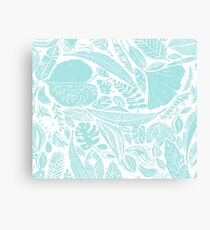 Sky blue leaves Canvas Print