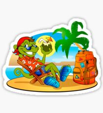 lizard smiling  resting under the palms Sticker