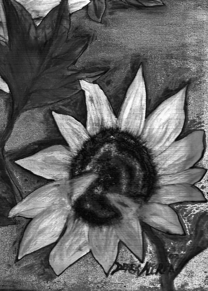 Oil Sunflower 2 Black and White  by derekmccrea