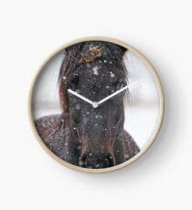 Horse in Snowstorm Clock