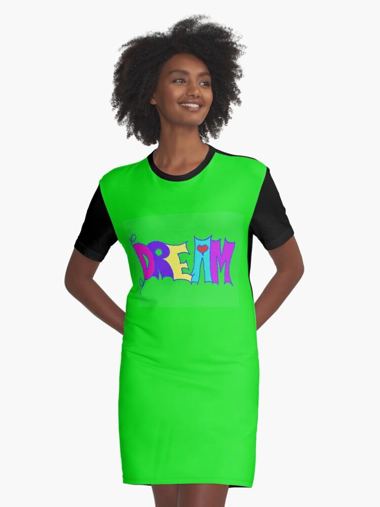 DREAM Graphic T-Shirt Dress Front