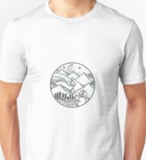 Brontosaurus Astronaut Mountain Circle Tattoo T-Shirt