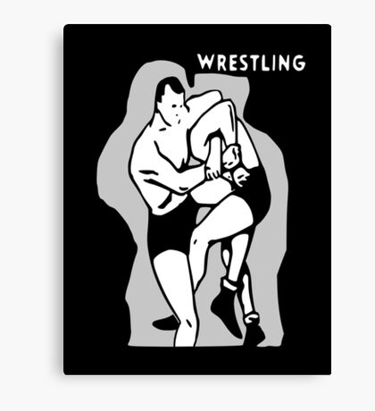 Black and White Vintage Wrestling Vector Graphic Canvas Print