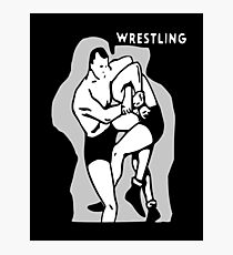 Black and White Vintage Wrestling Vector Graphic Photographic Print