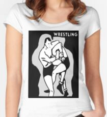 Black and White Vintage Wrestling Vector Graphic Women's Fitted Scoop T-Shirt