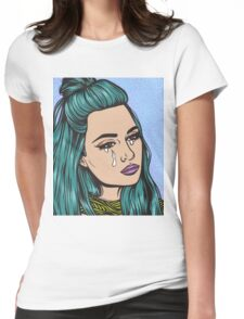 Teal Tears - Crying Comic Pop Art Girl Womens Fitted T-Shirt