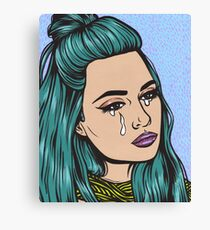 Teal Tears - Crying Comic Pop Art Girl Canvas Print