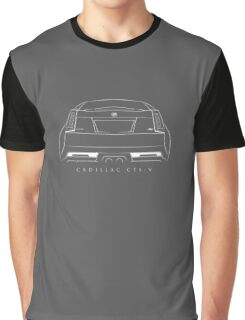 Cadillac CTS-V - rear Stencil, white Graphic T-Shirt