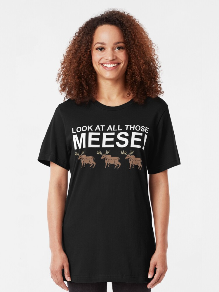 Alternate view of Look At All Those Meese! Slim Fit T-Shirt