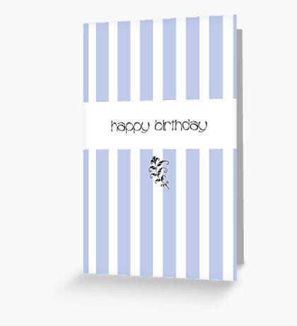 Blue Candy Stripes Birthday Greeting Card