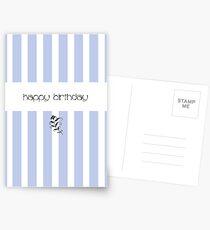 Blue Candy Stripes Birthday Postcards