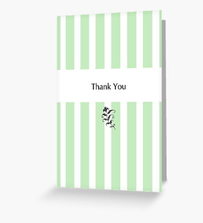 Mint Candy Stripes Thank You Greeting Card