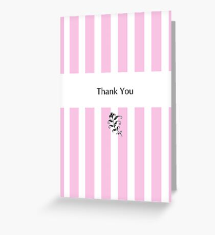Pink Candy Stripes Thank You Greeting Card