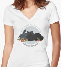 DTFarm Rabbitry Logo Women's Fitted V-Neck T-Shirt