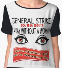 General Strike March 3-8-17 A Day Without A Woman Women's Chiffon Top