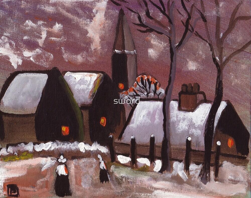 Breton village snowscene (from my original acrylic painting) by sword