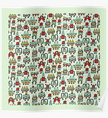 A pattern of robots and aliens. Poster