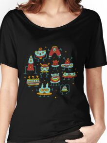 Funny robots-aliens in the circle. Women's Relaxed Fit T-Shirt