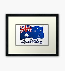 Australian continent with flag Framed Print
