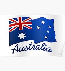 Australian continent with flag Poster