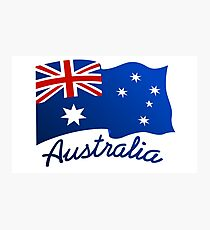 Australian continent with flag Photographic Print
