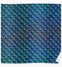 Blue Mermaid Scale Metal Surface Poster