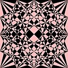 Coral and Black Polygon Design  by Charldia