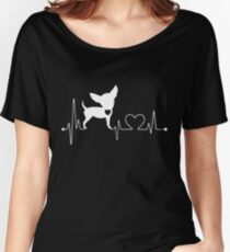 Funny Chihuahua, Chihuahua Heartbeat Women's Relaxed Fit T-Shirt