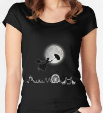 Magical Nanny Over London - neon light Women's Fitted Scoop T-Shirt