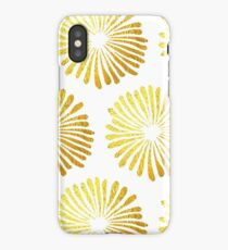 gold daisies pattern on White background  iPhone Case