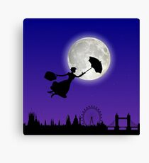 Magical Nanny Over London - purple blue Canvas Print
