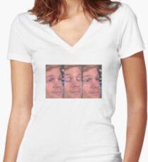 white guy blinking Women's Fitted V-Neck T-Shirt