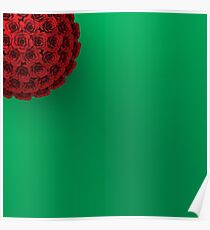 ROSES ON PLAIN GREEN BACKGROUND Poster