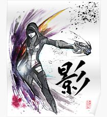 Kasumi from Mass Effect sumi and watercolor style Poster
