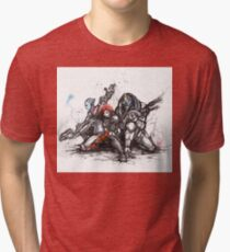 Shepard, Garrus and Liara trio sumi and watercolor style Tri-blend T-Shirt