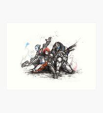 Shepard, Garrus and Liara trio sumi and watercolor style Art Print