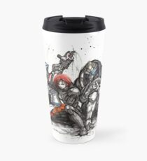 Shepard, Garrus and Liara trio sumi and watercolor style Travel Mug